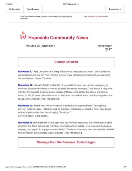 HUUC Nov 2017 News - Hopedale Unitarian Universalist Community
